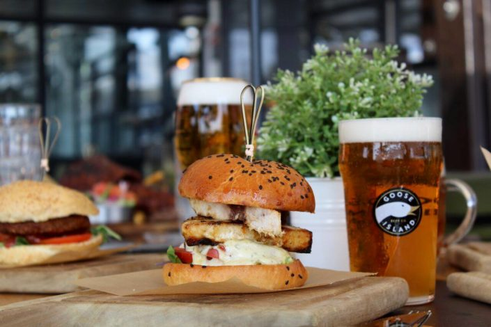 fish burger with beer